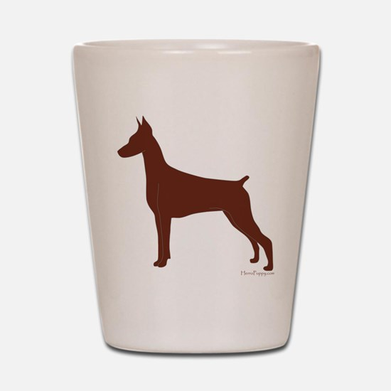 Red Doberman Silhouette Shot Glass