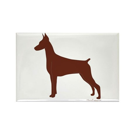 Red Doberman Silhouette Rectangle Magnet