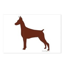 Red Doberman Silhouette Postcards (Package of 8)