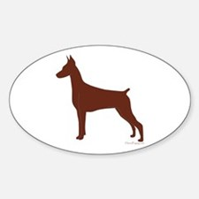 Red Doberman Silhouette Sticker (Oval)
