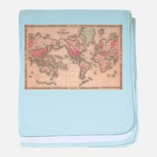Vintage Map of The World (1864) baby blanket