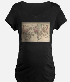 Vintage Map of The World (1864) Maternity T-Shirt