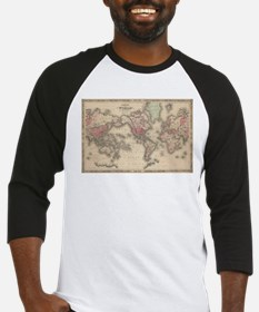 Vintage Map of The World (1864) Baseball Jersey