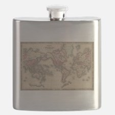 Vintage Map of The World (1864) Flask