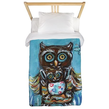 owl momma with baby Twin Duvet