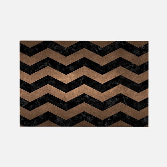 CHEVRON3 BLACK MARBLE & BRONZE ME Rectangle Magnet