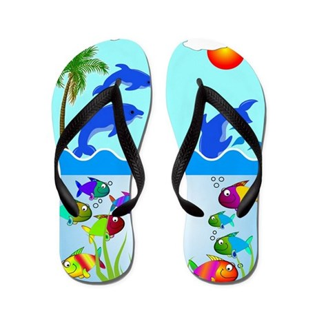 Dolphins and fish flip flops by nurseii for Fish flip flops