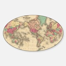 Vintage Map of The World (1860) Decal