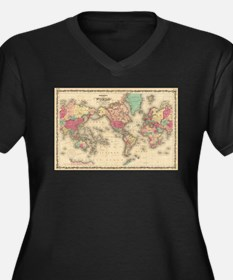 Vintage Map of The World (1860) Plus Size T-Shirt