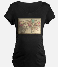 Vintage Map of The World (1860) Maternity T-Shirt
