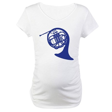 blue french horn Maternity T-Shirt
