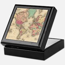 Vintage Map of The World (1860) Keepsake Box