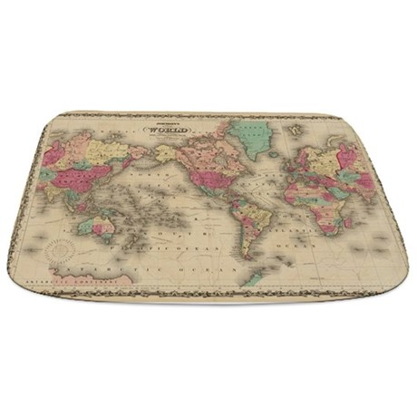 Vintage Map Of The World (1860) Bathmat