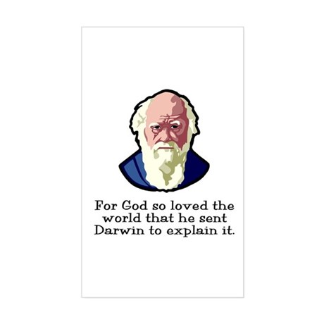 God Sent Darwin Evolution Rectangle Sticker