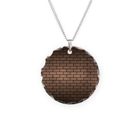 BRICK1 BLACK MARBLE & BRONZE Necklace Circle Charm