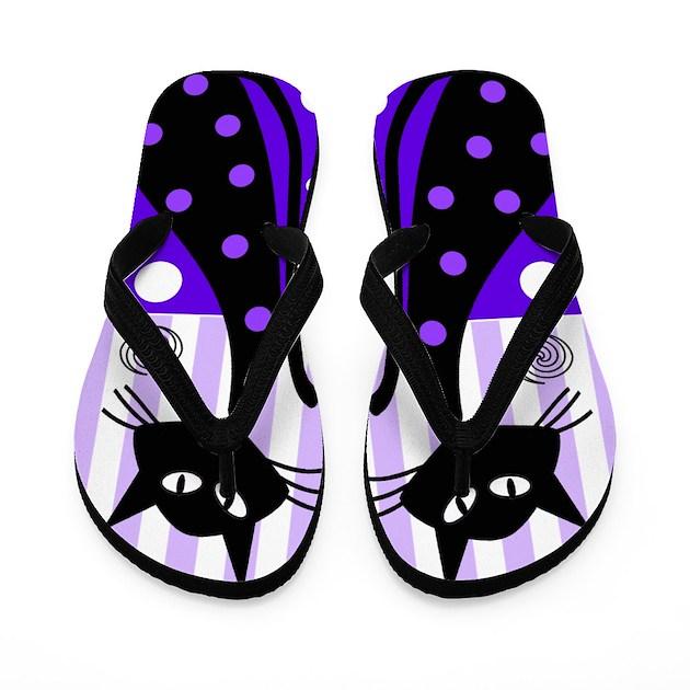 Whimsical Black Cats Flip Flops By Nurseii