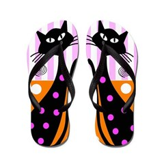 Whimsical Black Cats Flip Flops