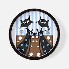 Whimsical Black Cats Wall Clock