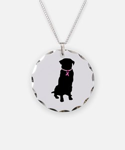 Golden Retriever Breast Cancer Support Necklace