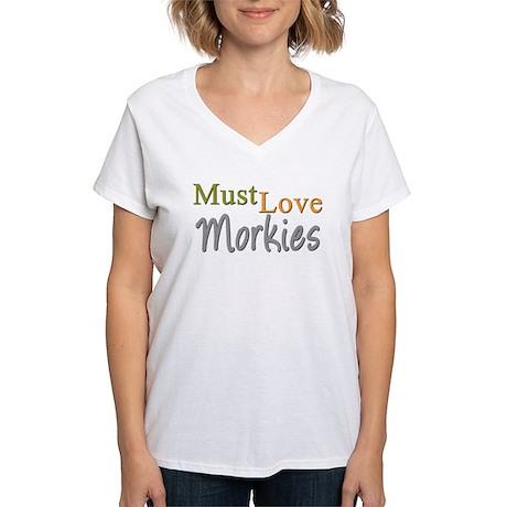 MUST LOVE Morkies Women's V-Neck T-Shirt