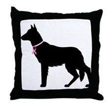 German Shepherd Breast Cancer Support Throw Pillow