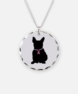 French Bulldog Breast Cancer Support Necklace