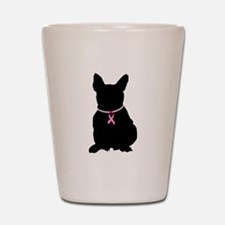 French Bulldog Breast Cancer Support Shot Glass