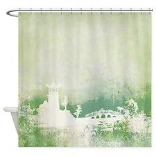Green Japanese Garden Shower Curtain