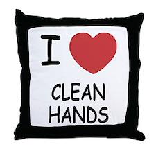 i heart clean hands Throw Pillow