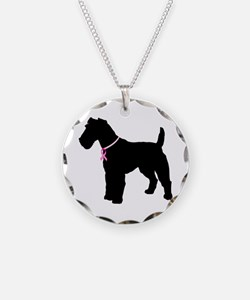Fox Terrier Breast Cancer Support Necklace