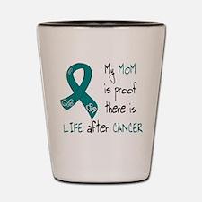 teal mom life.png Shot Glass