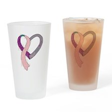new heart ribbon PTPINK.png Drinking Glass