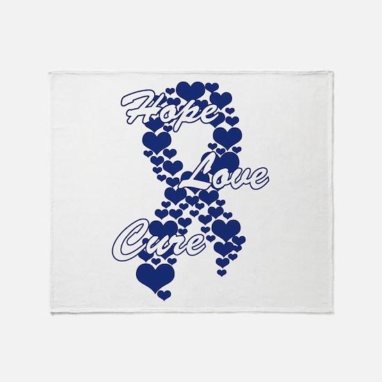 Peace Love Cure Yudu Dark Blue.png Throw Blanket