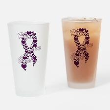 Peace Love Cure Yudu Purple.png Drinking Glass