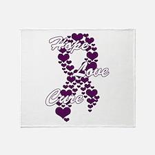 Peace Love Cure Yudu Purple.png Throw Blanket