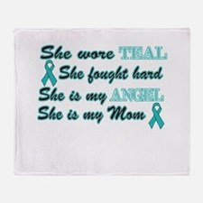 She is Mom Teal angel.png Throw Blanket