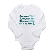 She is Mom Teal angel.png Long Sleeve Infant Bodys