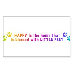 HappyIsTheHomeBlessed-PAWS-LONG.png Sticker (Recta