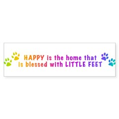HappyIsTheHomeBlessed-PAWS-LONG.png Bumper Sticker