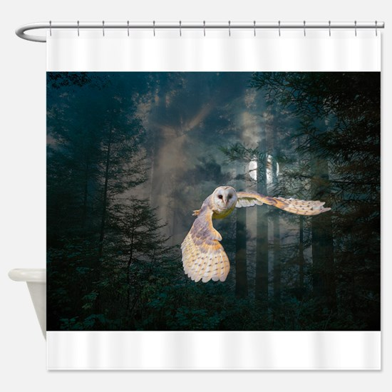 Owl at Midnight Shower Curtain