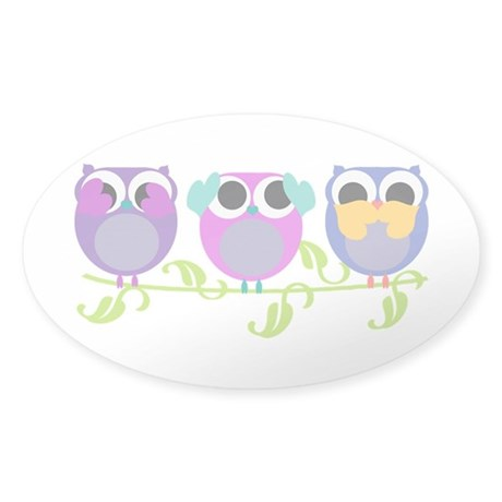see hear speak no evil owls Sticker (Oval)
