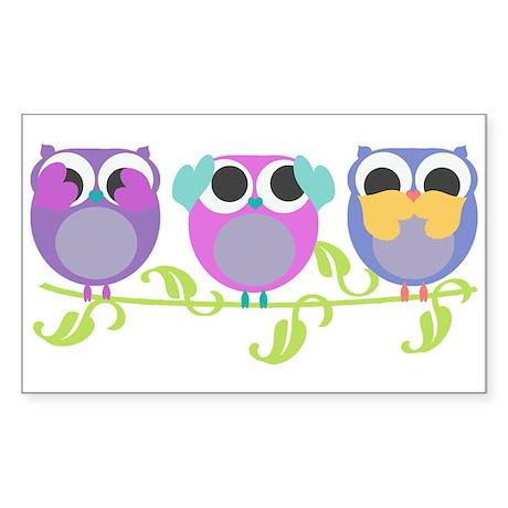 see hear speak no evil owls Sticker (Rectangle)