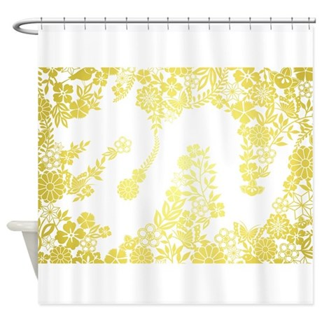 Yellow Flower Dragon Shower Curtain By Zoeticliving