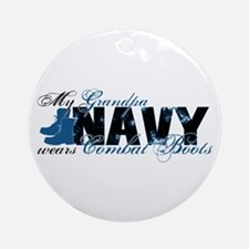 Grandpa Combat Boots - NAVY Ornament (Round)