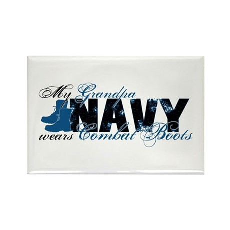 Grandpa Combat Boots - NAVY Rectangle Magnet