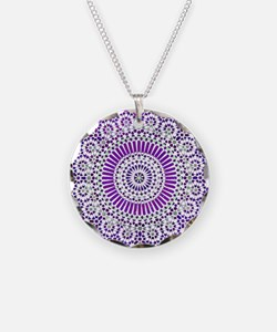 purple crown seventh chakra mosaic circle Necklace