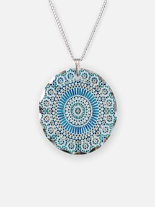 blue throat fifth chakra mosaic circle Necklace