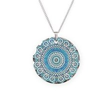 blue throat fifth chakra mosaic circle Necklace Ci