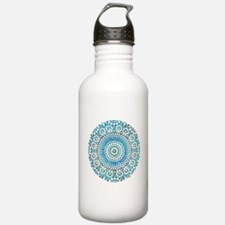 blue throat fifth chakra mosaic circle Water Bottle