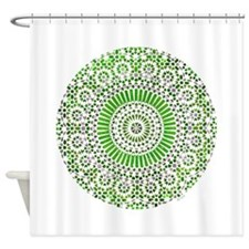 green heart fourth chakra mosaic circle Shower Cur